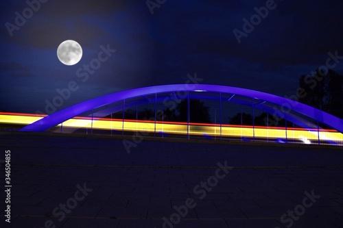 Valokuva Full Moon Over Bridge At Night