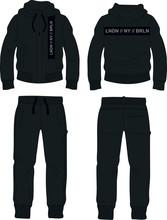 Man Suit Set Zipper Hoodie Jacket Joggers Pants Black London Template