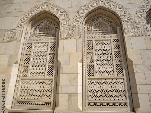 Fényképezés Beautifully inlaid windows of the Sultan Qaboos Grand Mosque, Muscat Oman