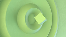 The Green Disk With Wavy Effect And Grunge Texture.Green Cube On Top. Abstract Background. 3d Render.