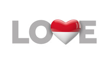 Love Indonesia Heart Shaped Flag With Love Word. 3D Rendering