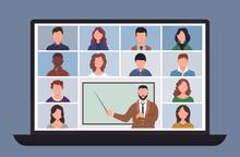 Online Class. Pupils Or Studen...