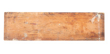 Close-up Old Vintage Dirty Pine Plank With Stains Of Paint Isolated On White Background