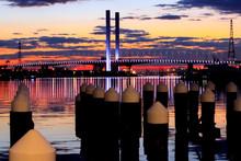 Illuminated Westgate Bridge Against Dramatic Sky During Sunset