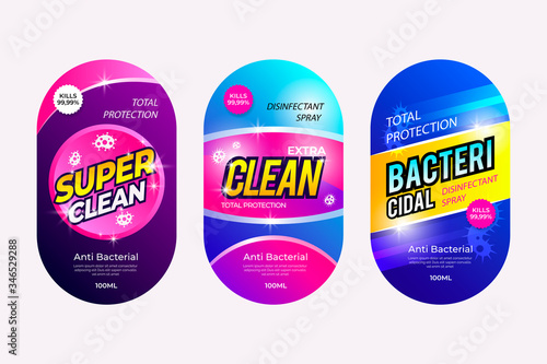Pack virus and bacterial cleaner labels Canvas Print