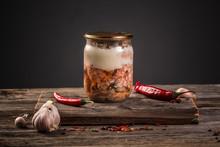 Farm Organic Food. Canned Meat...