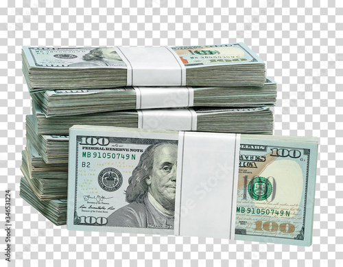 Fototapeta New design dollar bundles on isolated  background. Including clipping path obraz