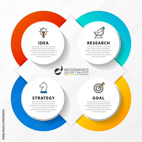Photo Infographic design template. Creative concept with 4 steps