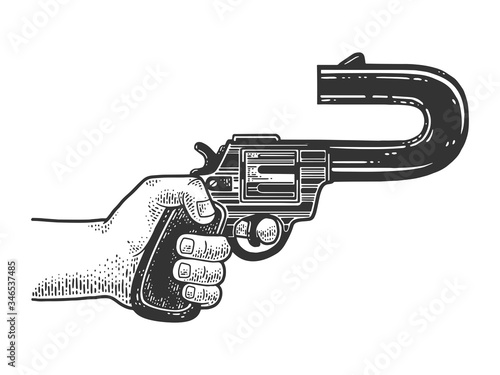 absurd revolver with a curved barrel pointing back sketch engraving vector illustration Wallpaper Mural
