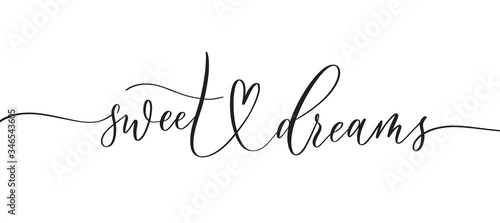 Sweet Dreams -  typography lettering quote, brush calligraphy banner with  thin line Wallpaper Mural