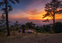 Asian Man Take Picture Sunset ...