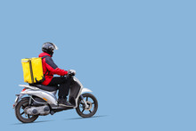 Young Courier With Thermo Bag On Color Background, Space For Text. Food Delivery Service