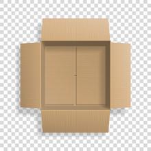 Realistic Cardboard Open Box, ...