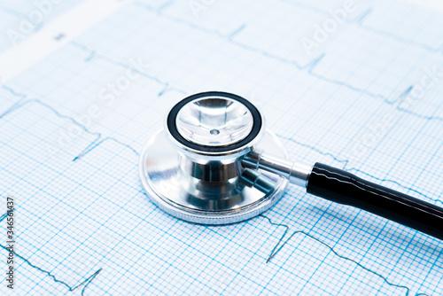 心電図と聴診器 Canvas Print