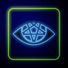 Glowing Neon Pentagram Icon Is...
