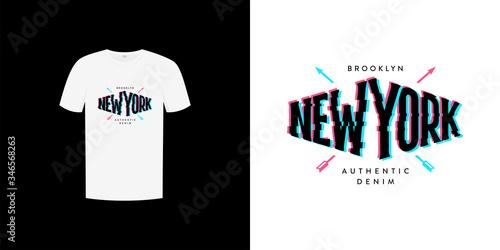 Photo New york anaglyph shirt print vector Illustration