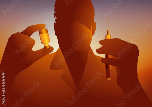 Photo Un médecin présente un flacon contenant un vaccin et une seringue avant de faire l'injection à un patient pour le protéger de l'épidémie de coronavirus