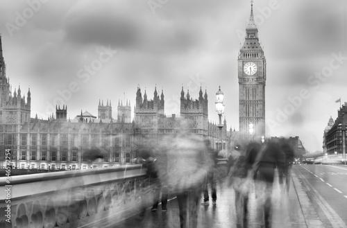 Blurred Motion Of People Walking On Westminster Bridge Canvas Print