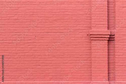 Old red painted brick wall texture background with decorative vertical brick col Canvas-taulu