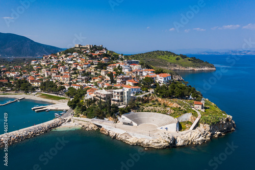 Paralio Astros cityscape, view from drone, Arcadia, Greece Canvas Print