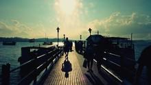 Silhouette People Walking On P...