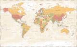 World Map Vintage Political - Vector Detailed Illustration - Layers