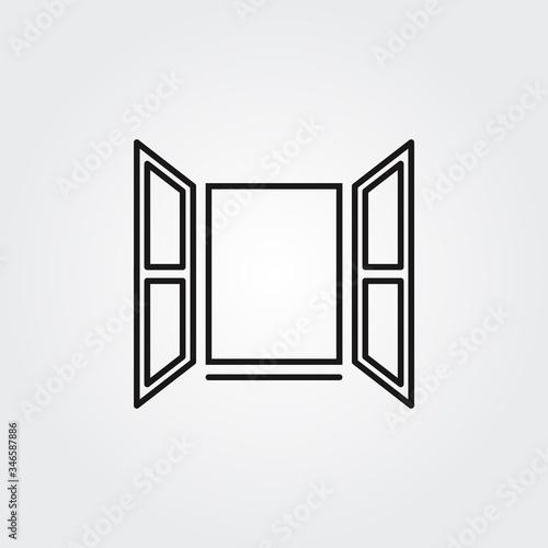 Obraz Opened window icon. Vector - fototapety do salonu