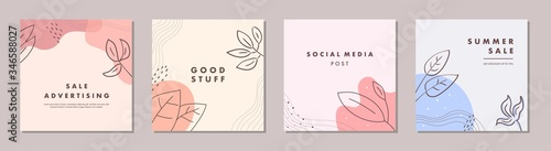 Obraz Sale square banner template for social media posts, mobile apps, banners design and web/internet ads. Trendy abstract square template with colorful concept. - fototapety do salonu