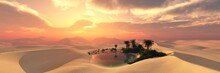 Oasis At Sunset In A Sandy Des...