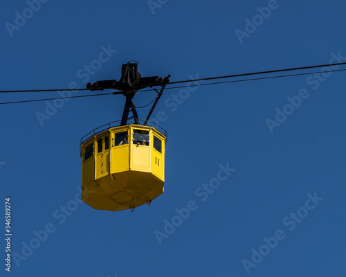 Cable car to ascend to the monastery of Montserrat. Canvas Print