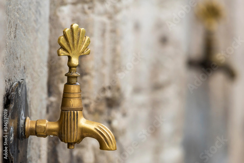 Ablution water tap in a mosque in Istanbul, Turkey Wallpaper Mural