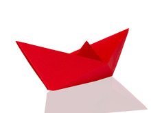 Origami Red Paper Boat Isolate...