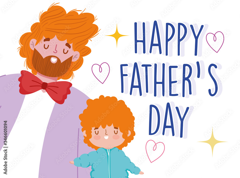 Fototapeta happy fathers day, dad and son with curly hair cartoon celebration