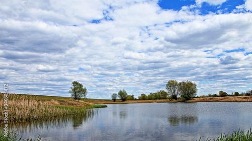 Fototapeta Staw w okolicy odry, błękitne zachmurzone niebo, drzewa na polanie obraz