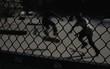 Boys Skateboarding In Park Seen Through Chainlink Fence