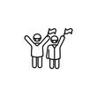 people happy after coronavirus line illustration icon on white background