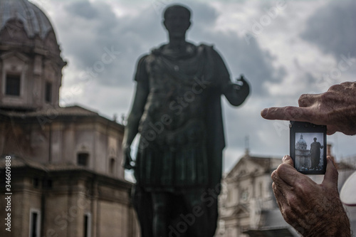 Historic Statue of Caesar Augustus in Rome proving his eternal glory Canvas Print