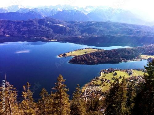 Fototapeta Scenic View Of Lake Walchen In Herzogstand
