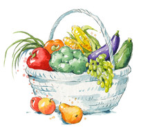 A Basket Full Of Fresh Fruit A...