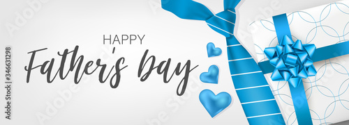 Obraz Happy Father's Day banner or header. Blue tie and gift box. Vector illustration. - fototapety do salonu