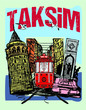 Istanbul taksim istiklal street tram embroidery graphic design vector art