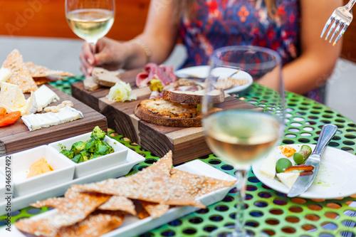 dinner appetizers with wine Fototapeta