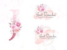 Logo Set Of Watercolor Flowers For Initial J Of Soft Floral, Leaves, Brush Stroke, And Gold Glitter. Premade Botanic Badge, Monogram For Branding