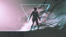 Man With The Gun Standing Agai...