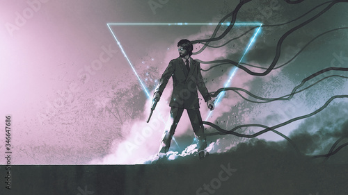 man with the gun standing against smoke background with mysterious glowing triangle, digital art style, illustration painting