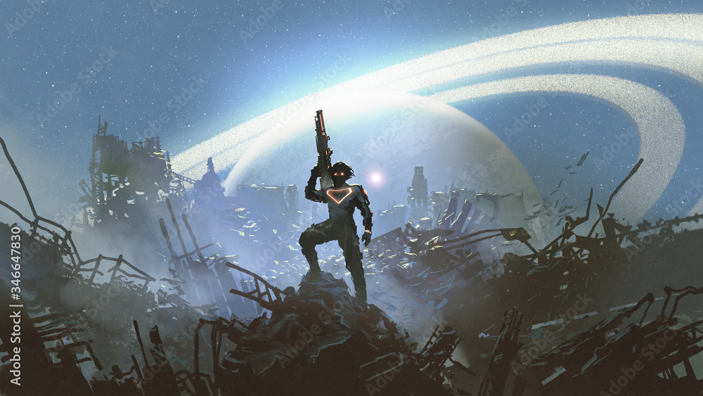 Fototapeta futuristic soldier standing on city ruins against the glowing planet, digital art style, illustration painting