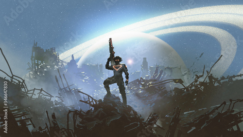 Photo futuristic soldier standing on city ruins against the glowing planet, digital ar