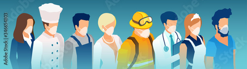 Fototapeta Vector of a group of people wearing face masks and standing together obraz