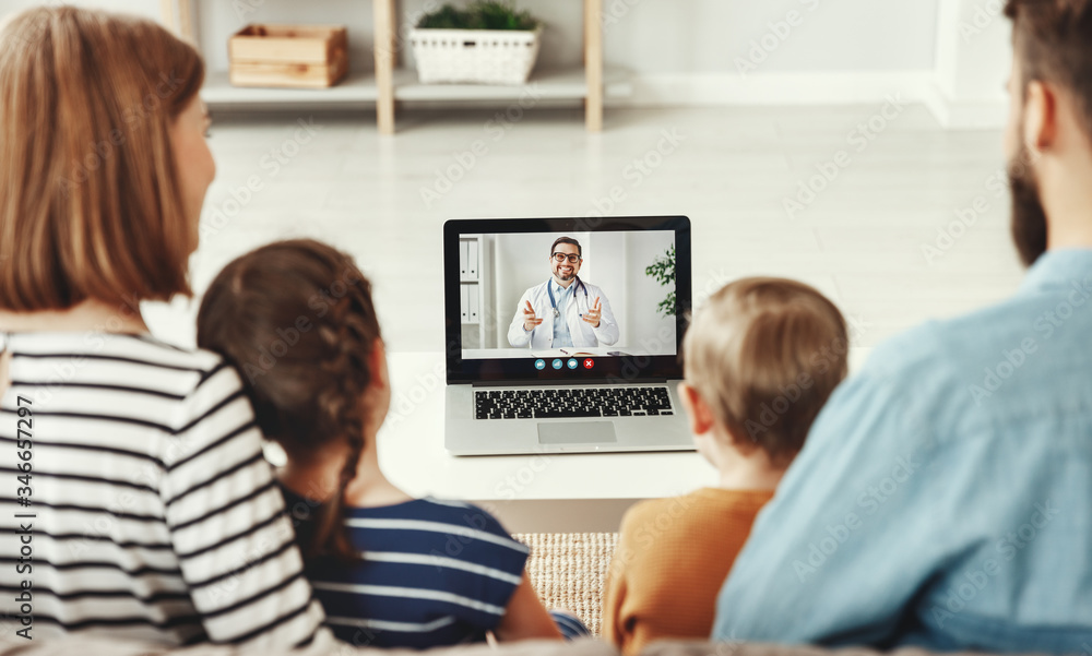 Fototapeta Video conference video chat with a doctor online.
