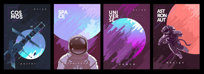 A set of vector illustrations. Posters and backgrounds about the space and the universe. Space odyssey, space, astronaut, planets.